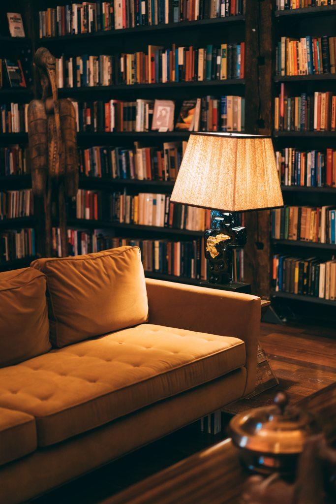 Imagen que contiene libro, estante, interior, cuarto  Descripción generada automáticamente